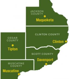 Eastern Iowa Mental Health Map of Counties
